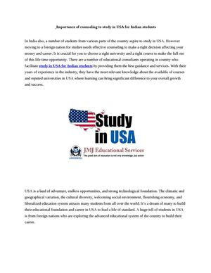 Importance of counseling to study in USA for Indian students