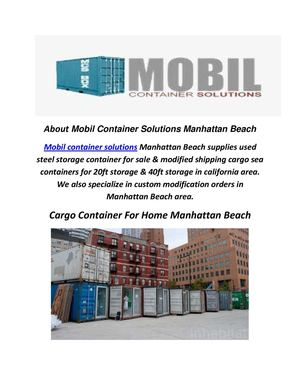 Mobil Container Solutions : Cargo Container For Home Manhattan Beach