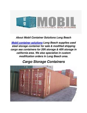 Mobil Container Solutions : Cargo Storage Containers in Long Beach