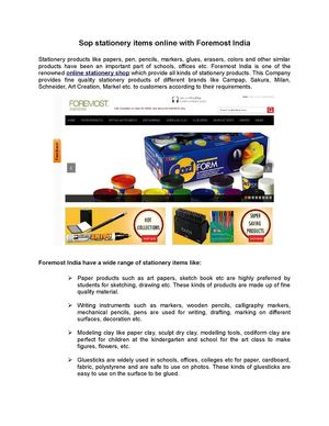 Sop stationery items online with Foremost India