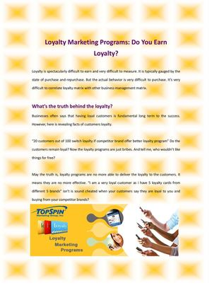 Loyalty Marketing Programs Do You Earn Loyalty