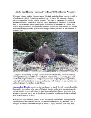 Alaska Bear Hunting - Learn All The Rules Of This Hunting Adventure