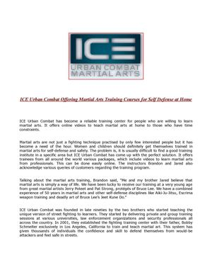 ICE Urban Combat Offering Martial Arts Training Courses for Self Defense at Home