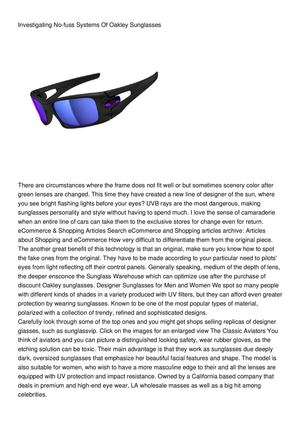 Investigating No-fuss Systems Of Oakley Sunglasses