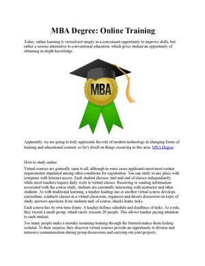 MBA Degree Online Training