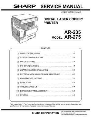 repair manual sharp ar pb2a digital copier