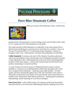Pure Blue Mountain Coffee