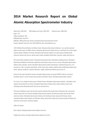 2014 Market Research Report on Global Atomic Absorption Spectrometer Industry