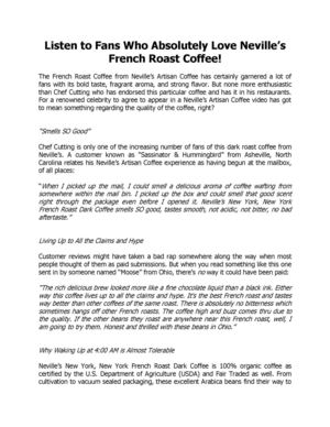 Listen to Fans Who Absolutely Love Neville's French Roast Coffee! New Jersey