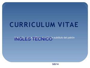 curriculum vitae ingles tecnico