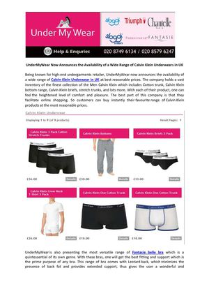 UnderMyWear Now Announces the Availability of a Wide Range of Calvin Klein Underwears in UK
