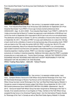 Pure Industrial Real Estate Trust Announces Cash Distribution For September 2014 - Yahoo Finance