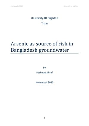 Arsenic As Source Of Risk In Bangladesh Groundwater