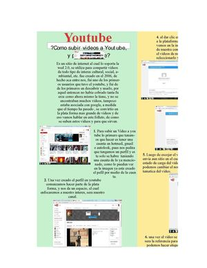 Folleto Educativo De como subir un vídeo a Youtube