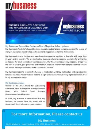 My Business: Australian Business News Magazine Subscriptions