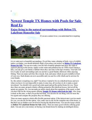 Enjoy living in the natural surroundings with Belton TX Lakefront Homesfor Sale