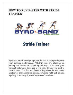 How To Run Faster With Stride Trainer