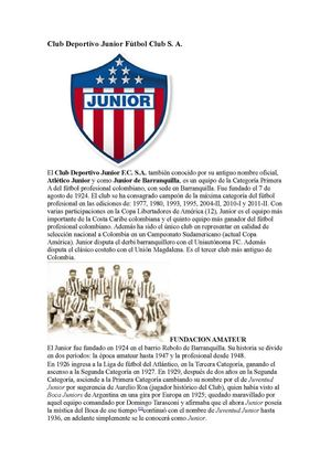 Club Deportivo Junior Fútbol Club SA