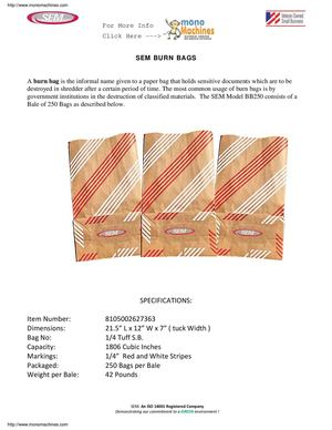 Sem Burn Bags Data Sheet
