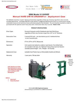 Sem Model 0100dep Manual Hdd Crusher Data Sheet