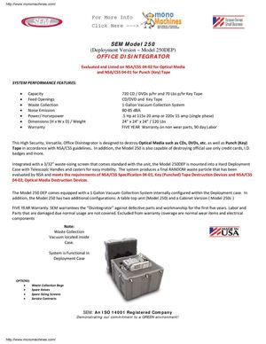 Sem Model 250DEP Disintegrator Data Sheet