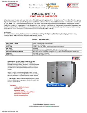 "SEM Model 0304-1.0 Jackhammer Hard Drive Shredder - 1.0"" Particle Size Data Sheet"