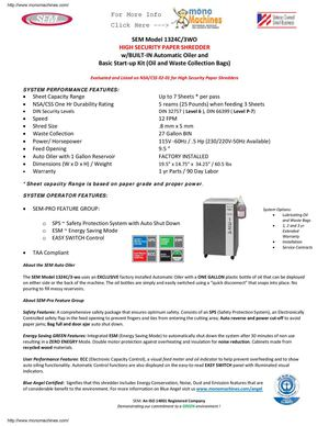 SEM Model 1324C/3WO High Security With Auto Oiler Paper Shredder Data Sheet