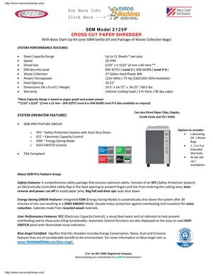 SEM Model 2125P Cross-Cut Medium Duty Paper Shredder Data Sheet