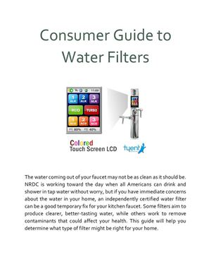 Consumer Guide To Water Filters