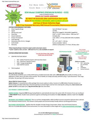 SEM Model 3140PWO-PB Cross-Cut Paper Shredder - Premium Bundle Data Sheet