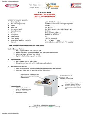 SEM Model 6040P Cross-Cut Shredder Data Sheet