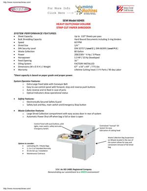 SEM Model 6040S Strip-Cut Shredder Data Sheet