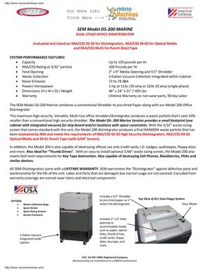 SEM Model DS-200-Marine Compact Dual Stage Disintegrator Data Sheet