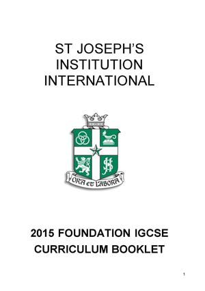 2015 Foundation Igcse Booklet Curriculum Changes