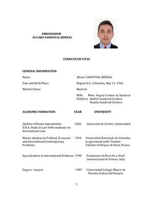 cv english embajador de colombia en noruega