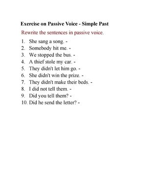 Exercise On Passive Voice Simple Past