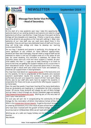 Calaméo - Doha College Secondary Newsletter - Sept 2014
