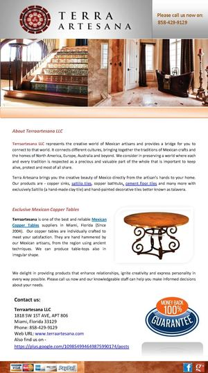 Terraartesana LLC Provides the Best Quality & Exclusive Mexican Copper Tables