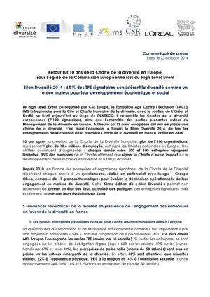 Communiqué De Presse¨- High Level Event / Bilan Diversité - 23 octobre 2014