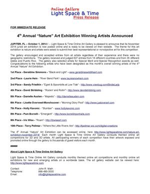 Nature 2014 Online Art Exhibition Winners Announced