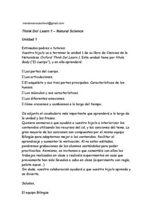 Carta Tema 1 Body 1º Science