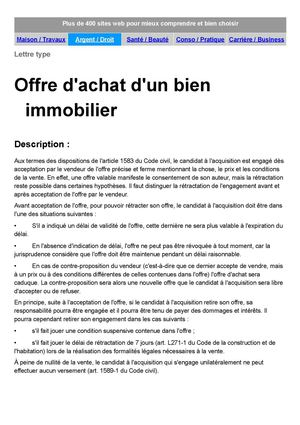 lettre type proposition achat immobilier