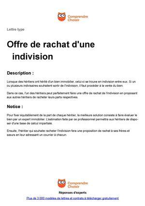Calameo Indivision Offre De Rachat
