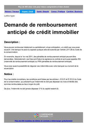 lettre type remboursement anticipe credit