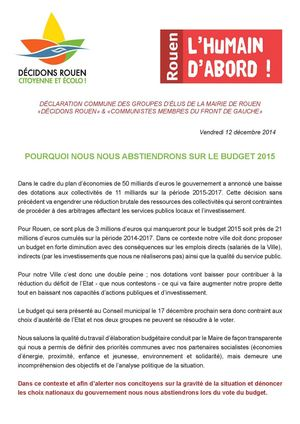 20141212 Declaration Commune Dr Pc Abstention Budget