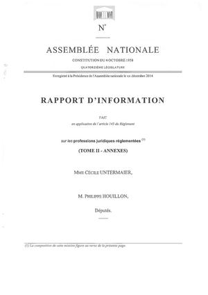 Rapport mission d'information Untermaier - Tome 1 I Annexes