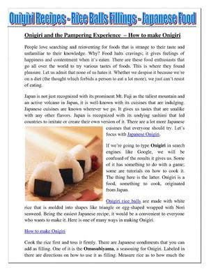 Onigiri And The Pampering Experience – How To Make Onigiri