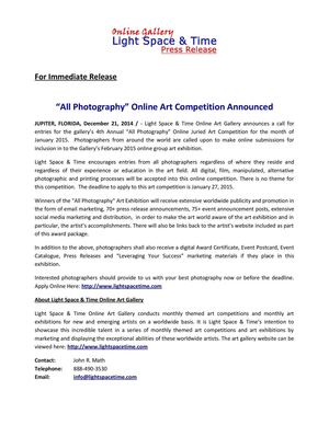 "4th Annual ""All Photography"" 2015 Online Art Competition"