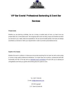 Vip Bar Events' Professional Bartending & Event Bar