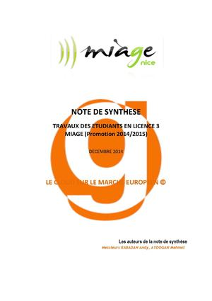Note De Synthese Le Cloud Sur Le Marche Europeen